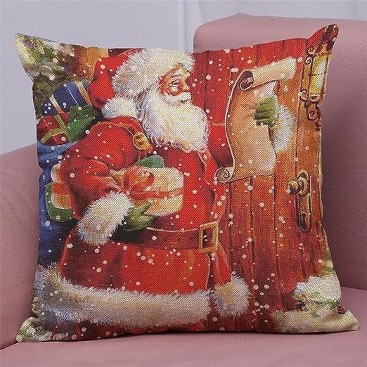 AMhomely - Funda de cojín de algodón y Lino, diseño navideño ...