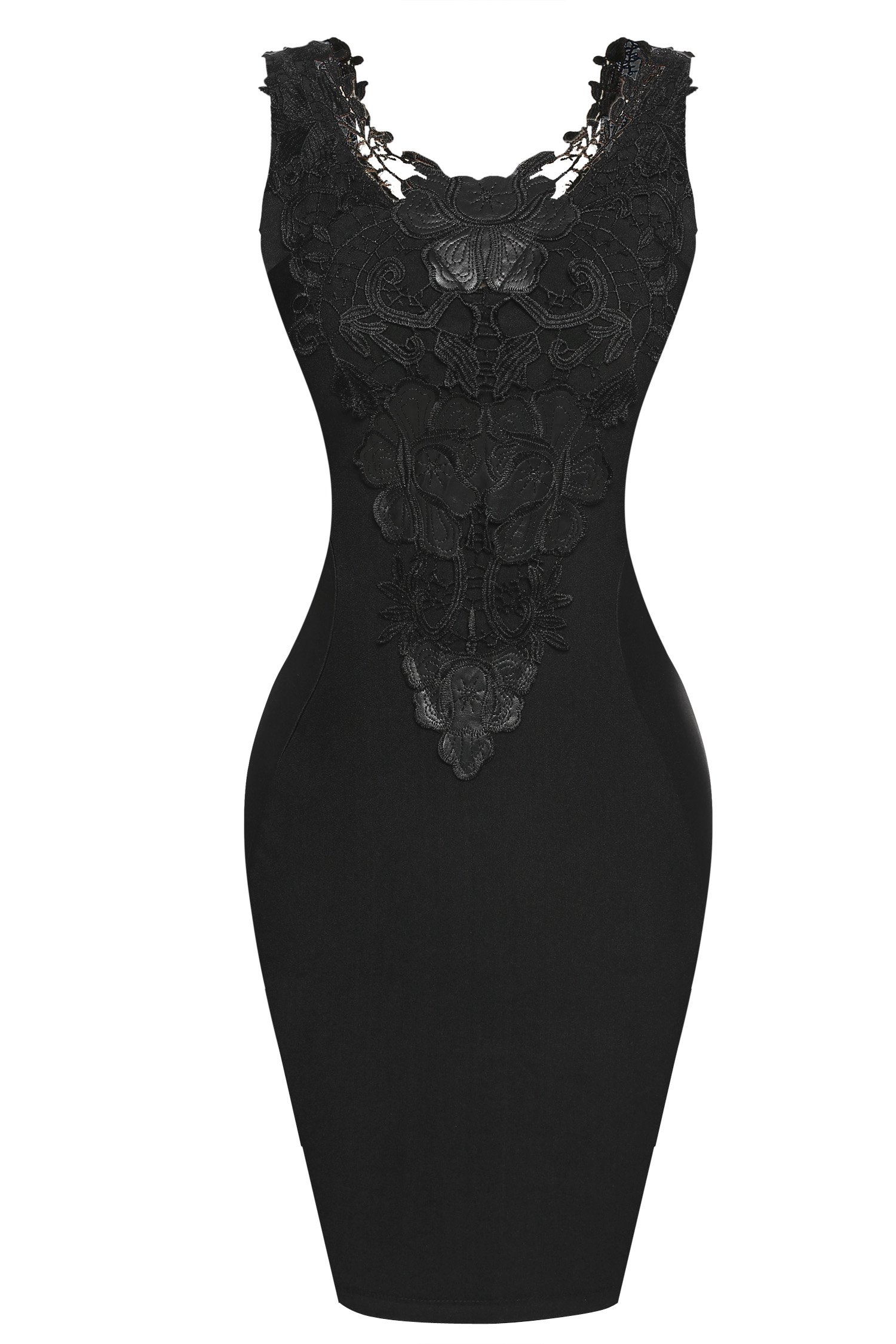 Zeagoo Women's Sleeveless Lace Neck Dress Evening Cocktail Party Dress,Large,Black