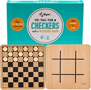 Regal Games Reversible Wooden Checkers / Tic-Tac-Toe Board Game with 24 Interlocking Wooden Checkers, for Ages 8 to Adult