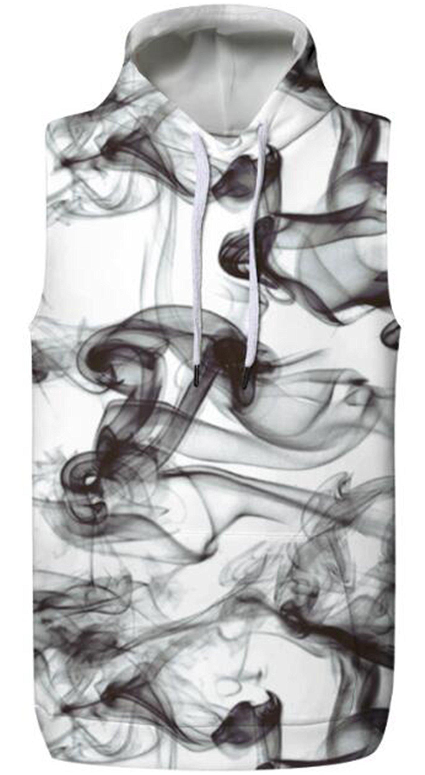SAINDERMIRA Unisex Fashion 3D Digital Galaxy Hooded Waistcoat Vests Sleeveless T-Shirt With Pockets(Ink Painting,S/M)