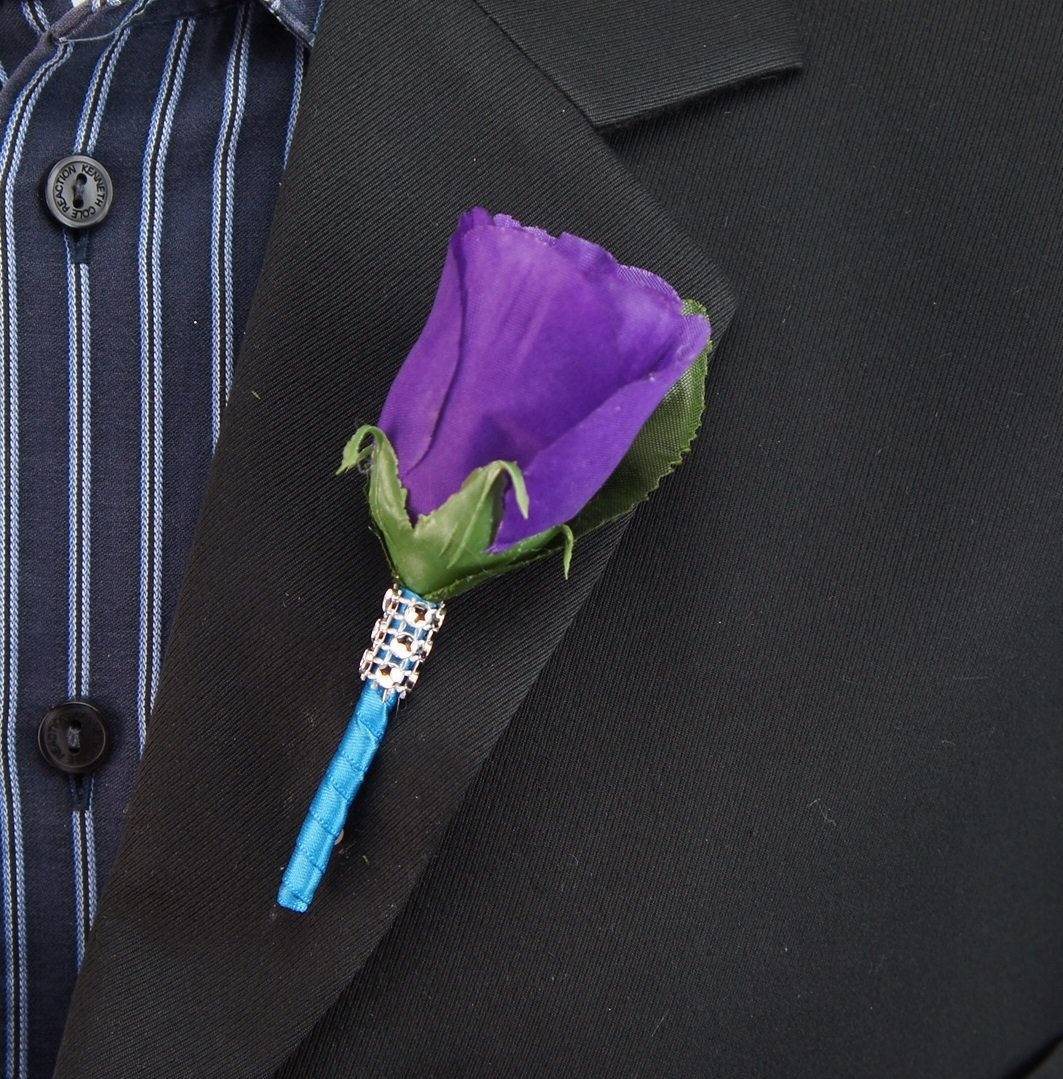 17pc-Wedding-Bridal-Party-Bouquets-Boutonniere-Turquoise-Purple-Silver-Silk-Roses-Flowers