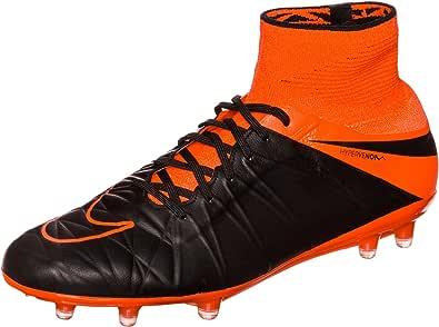 Nike Men's Hypervenom Phantom II LTHR FG Black/Black-TTL Orng-TTL Orng Shoes