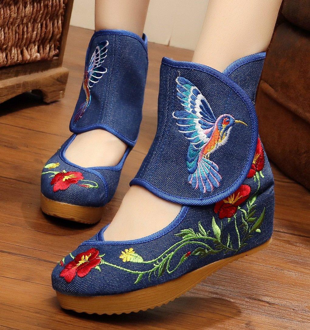 Tianrui Crown Ladies and Womens Hummingbird Embroidery Classy Platform Velcro Dancing Shoes B01NCENJV4 8 B(M) US|Blue