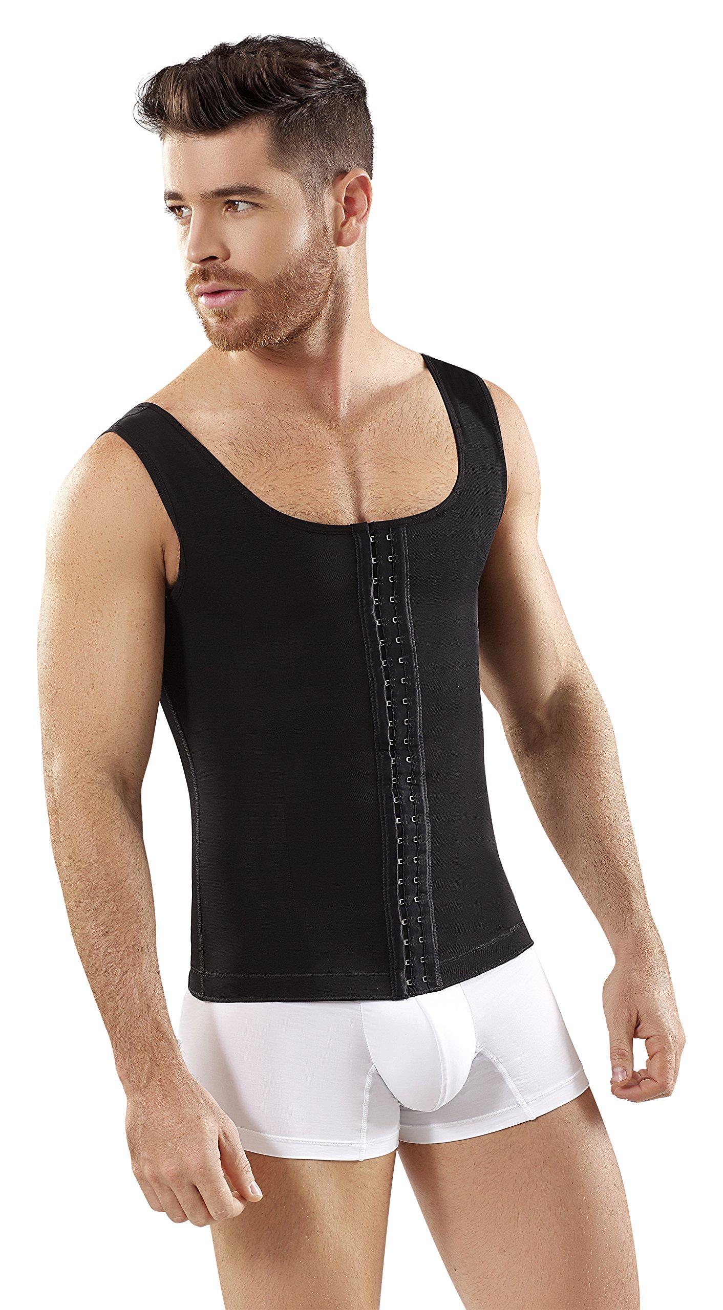Fajas Colombianas Para Hombres Mens Girdle High Compression Garmen Shapewear Bodysuit Faja Body Shaper for Men SCH0062 (Black, XXX-Large)