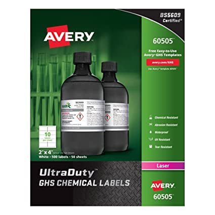 amazon com avery ultraduty ghs chemical labels for laser