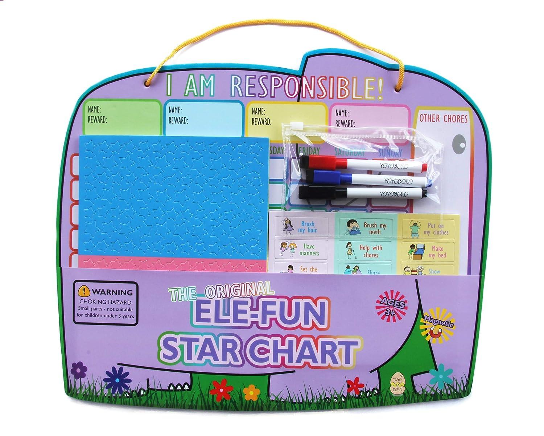 New Yoyoboko Ele-Fun Star Chart Premium Children Magnetic Chore Chart for Up to 4 Children