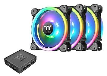 Thermaltake Riing Trio 140mm Circular 12 LED RGB High Static Pressure  Radiator Fan TT Premium Edition Case Fans - 3 Pack CL-F077-PL14SW-A