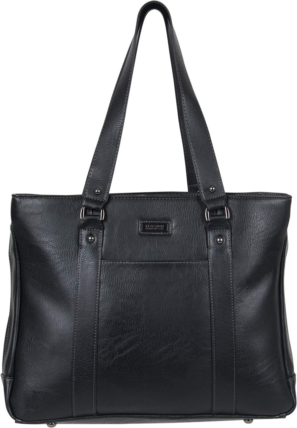 """Kenneth Cole Reaction Women's Hit Pebbled Faux Leather Triple Compartment 15"""" Laptop Business Tote, Black, One Size"""