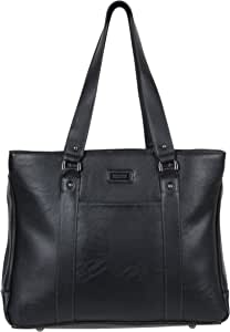 "Kenneth Cole Reaction Women's Hit Pebbled Faux Leather Triple Compartment 15"" Laptop Business Tote, Black, One Size"