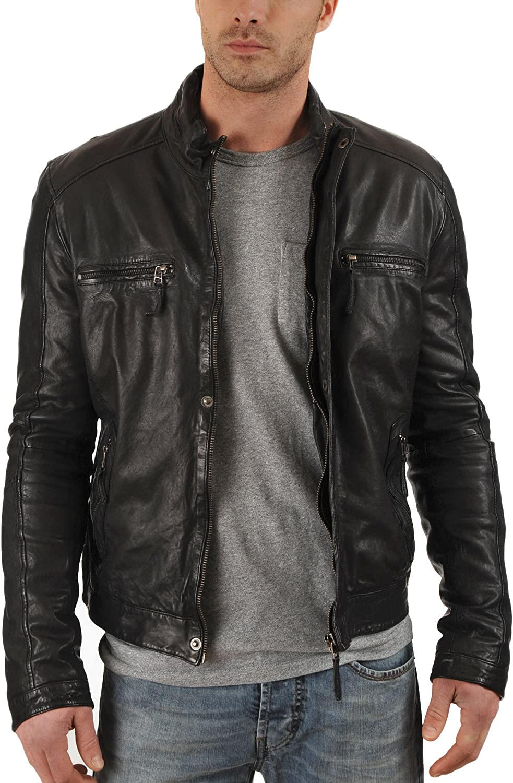 Kingdom Leather New Men Motorcycle Black Cowhide Cow Leather Jacket Coat Size XS S M L XL XC017