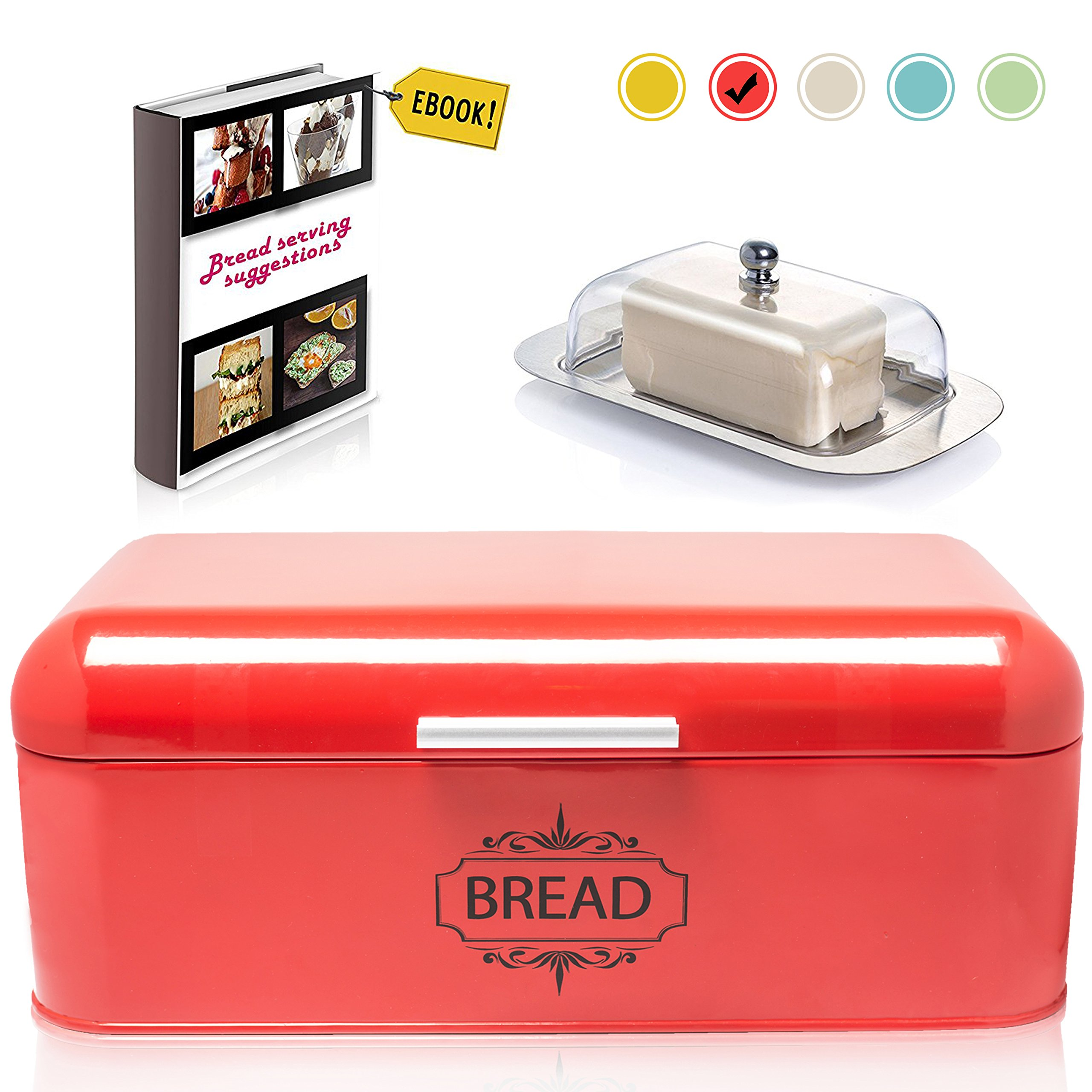 Vintage Bread Box For Kitchen Stainless Steel Metal in Retro Red + FREE Butter Dish + FREE Bread Serving Suggestions eBook 16.5'' x 9'' x 6.5'' Large Bread Bin storage by All-Green Products