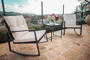 Suncrown Outdoor 3 Piece Rocking Wicker Bistro Set: Black Wicker Furniture    Two Chairs