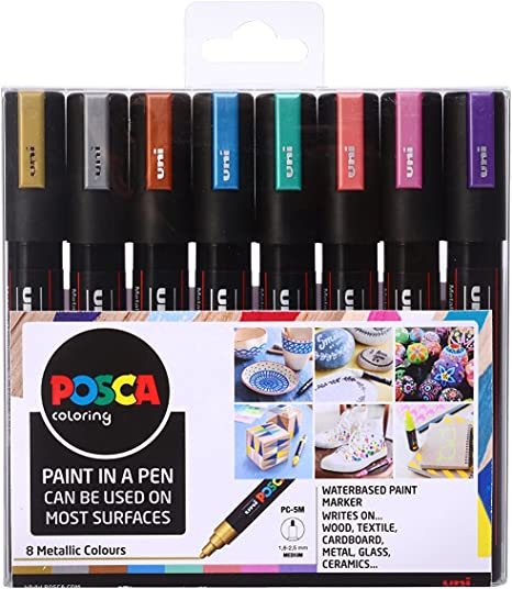 7 UNI POSCA PASTEL COLOUR PAINT PENS PC-5M 1.8-2.5mm Colour Markers Japan