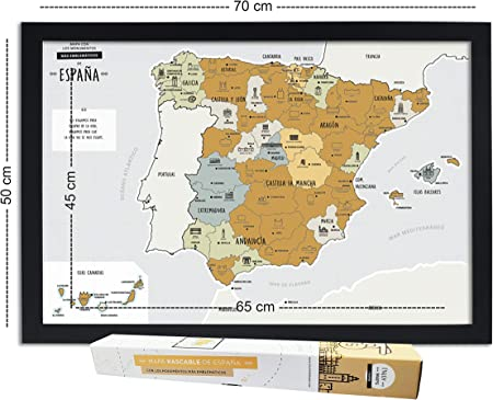 Mapa DE ESPAÑA para RASCAR + Marco Negro (EN ESPAÑOL): Amazon.es: Hogar
