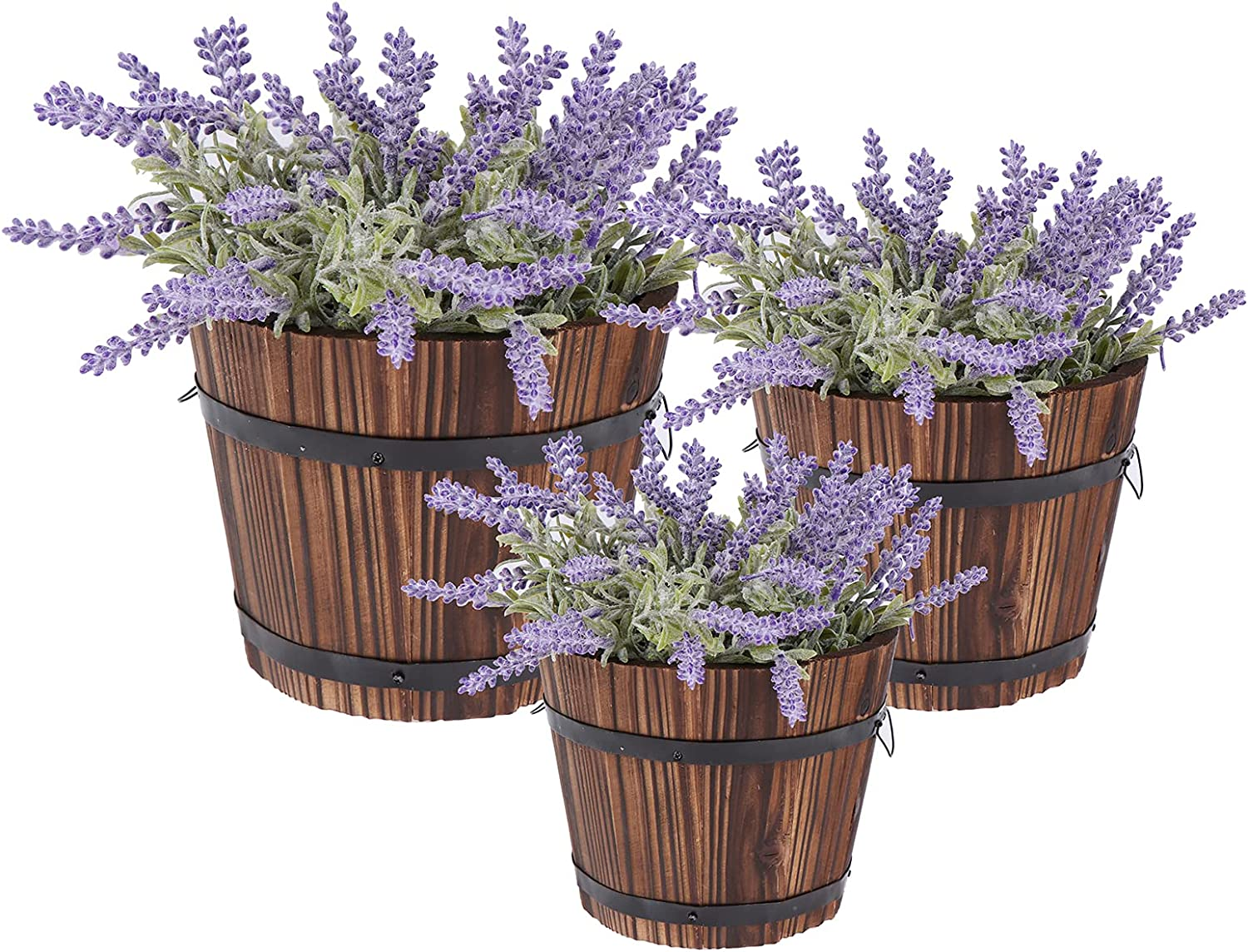 3 Pcs Rustic Wooden Barrels Planters Whiskey Barrels Bucket with Handle Flower Planter Plant Pots Boxes Container Water Wishing Well Pail Garden Backyard Primitive Planter Outdoor Indoor Home Decor