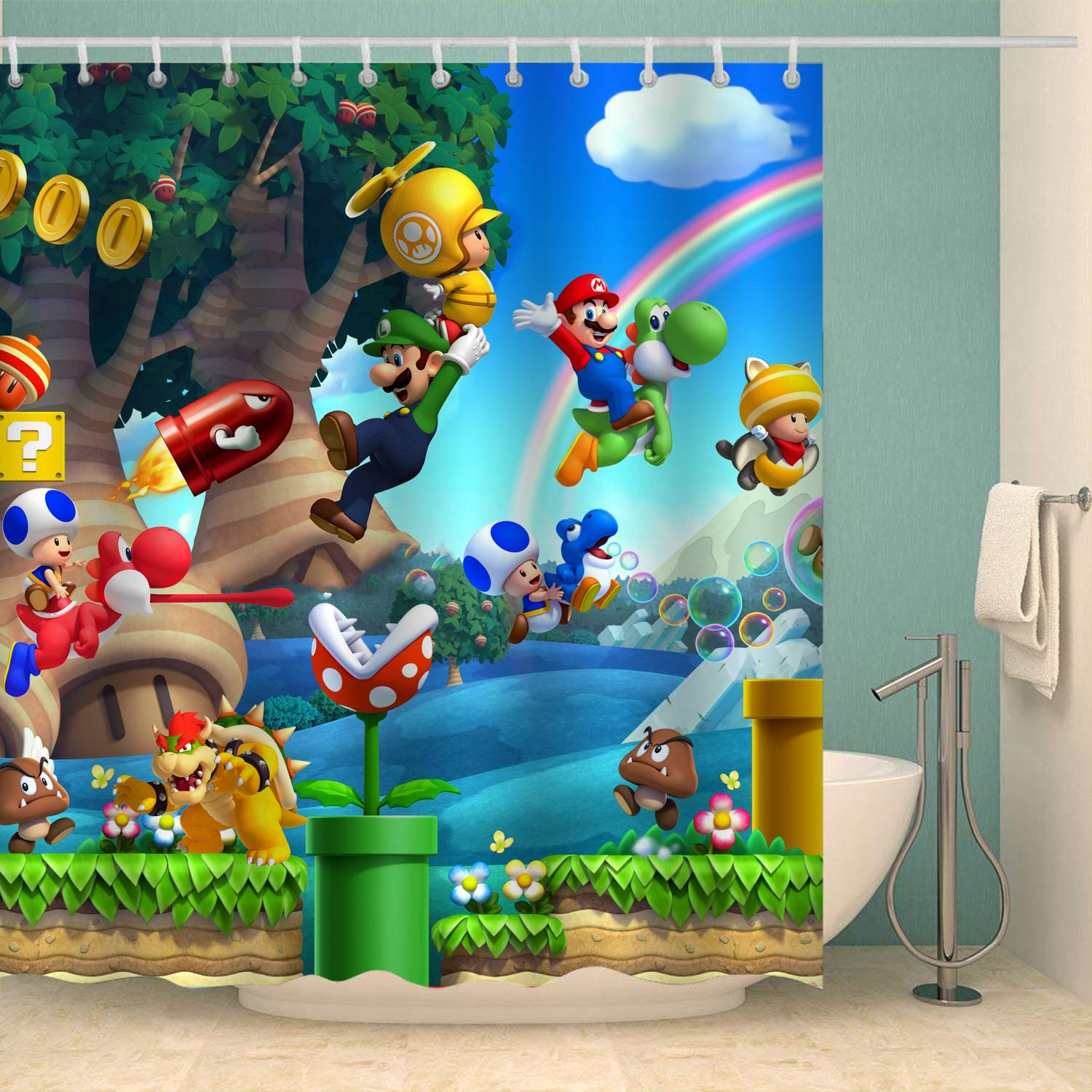 Aoskin Custom Super Mario Bros Game Shower Curtain Waterproof with Color Bathroom Decoration Size of 66x72 Inches