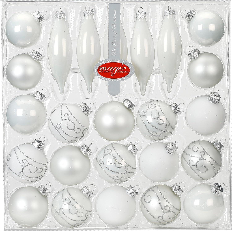 Kugel Sortiment Glas 24 Tlg Mit Zapfen Weihnachtskugeln Baumkugeln