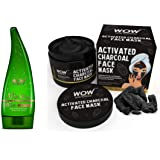 WOW Aloe Vera Multipurpose Beauty Gel for Skin and Hair, 130ml & Activated Charcoal Face Mask with PM 2.5 Anti-Pollution Shield No Parabens & Mineral Oil Wash Of Combo