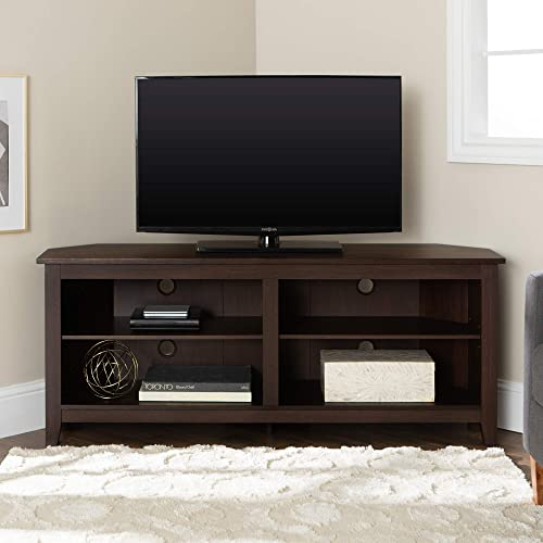New 58 Inch Wide Espresso Brown Corner Television Stand