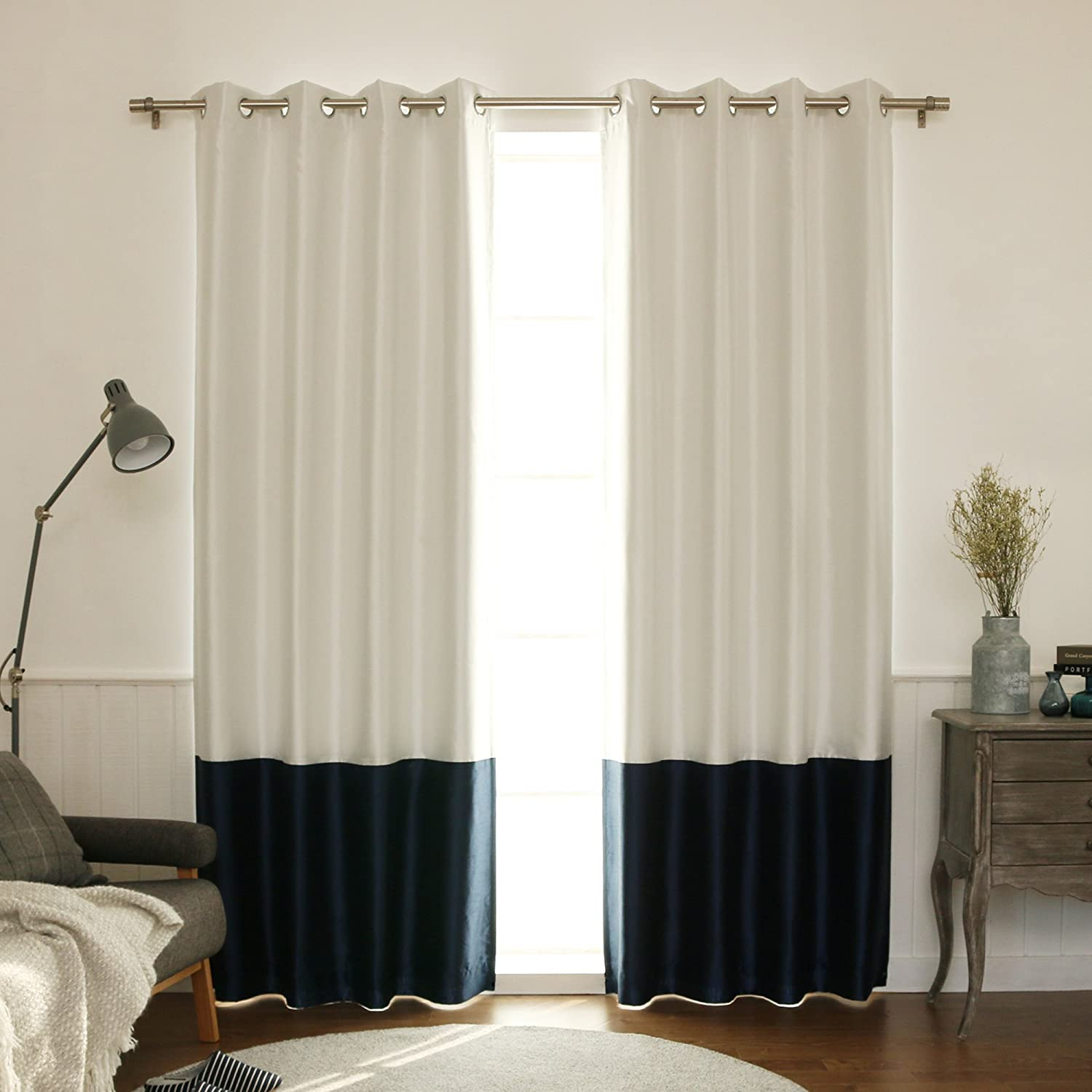 Best Home Fashion ColorBlock Faux Silk Blackout Curtain - Stainless Steel Nickel Grommet Top - Navy