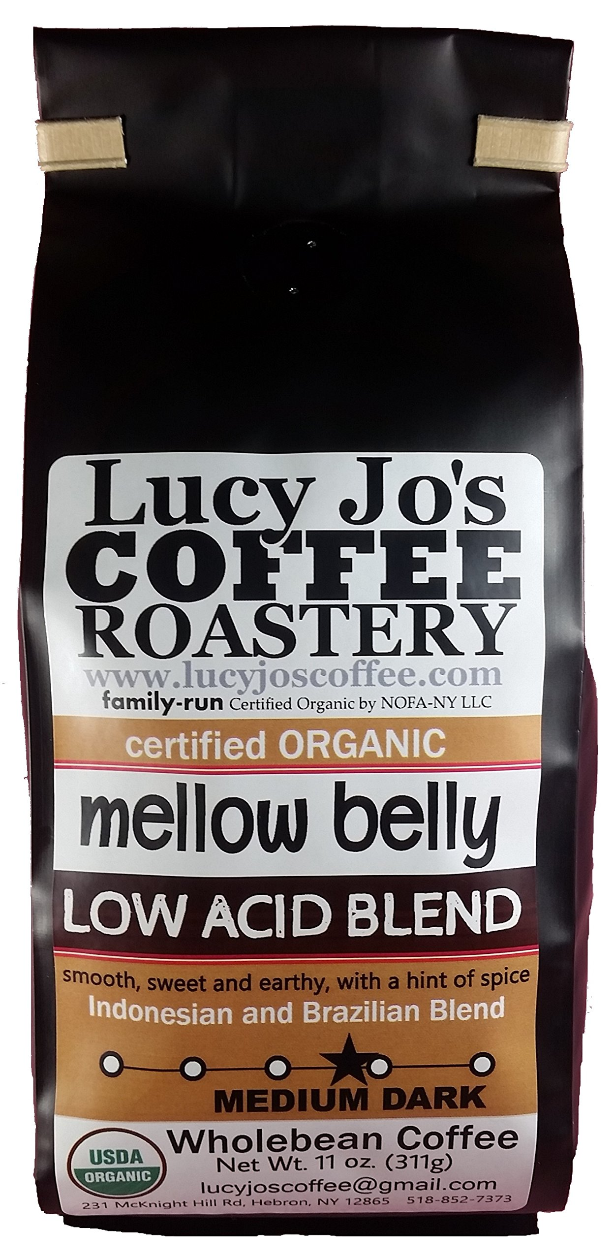 Lucy Jo's Coffee, Organic Mellow Belly Low Acid Blend, Whole Bean, 11 oz