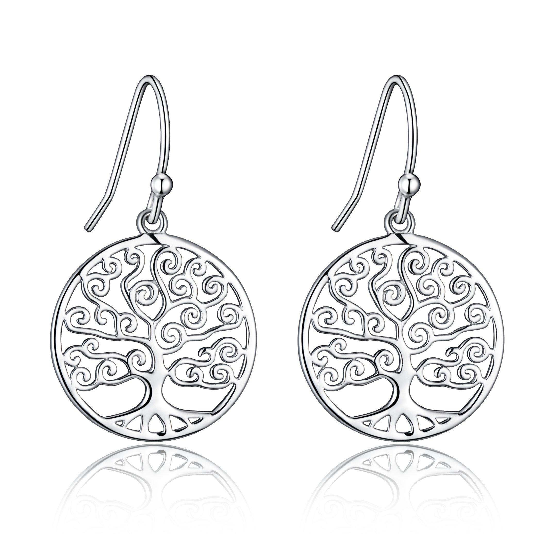 Sterling Silver Filigree Tree Of Life Design Dangle Drop Earrings