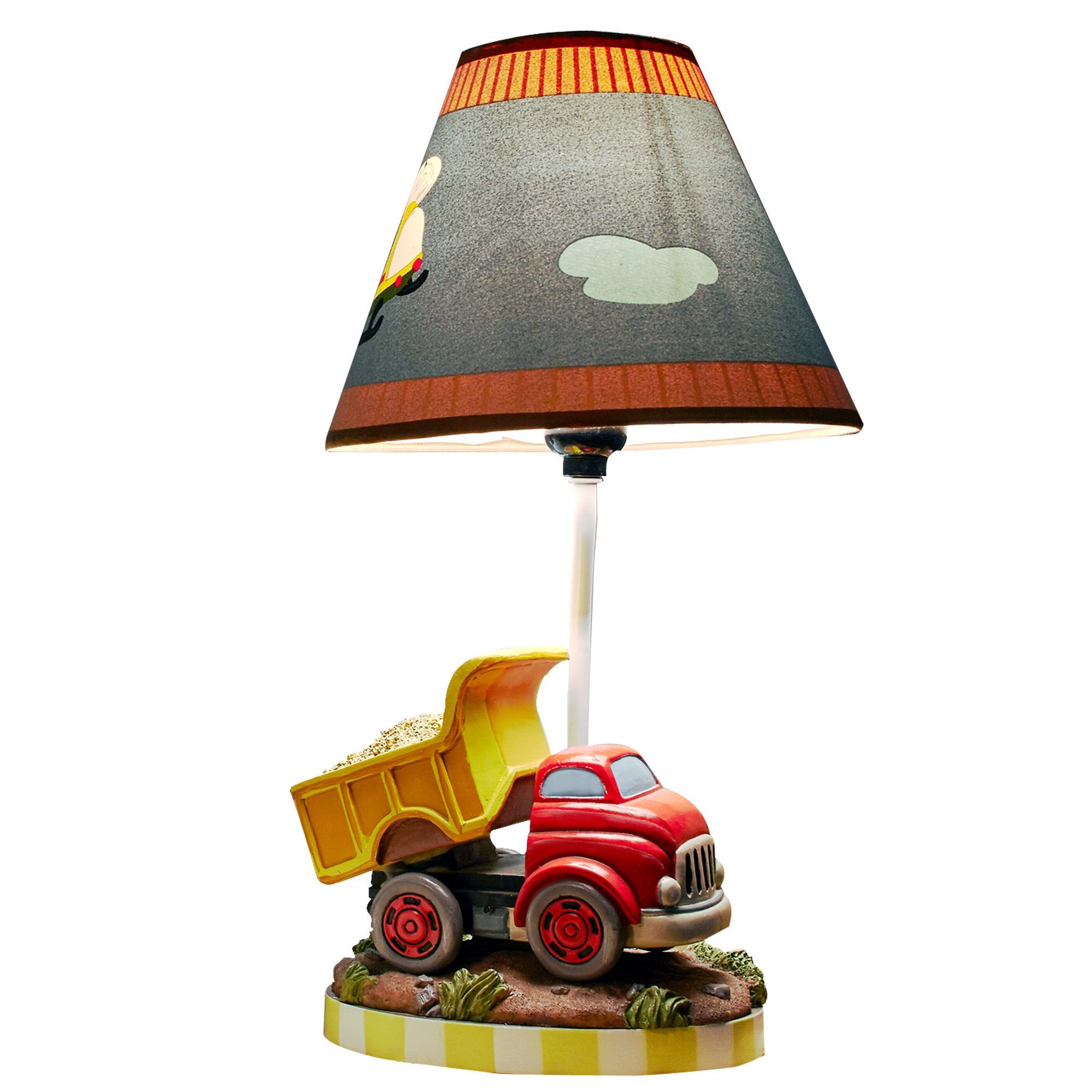 Teamson Design Corp Fantasy Fields - Transportation Thematic Kids Table Lamp   Imagination Inspiring Hand Painted Details   Non-Toxic, Lead Free Water-based Paint