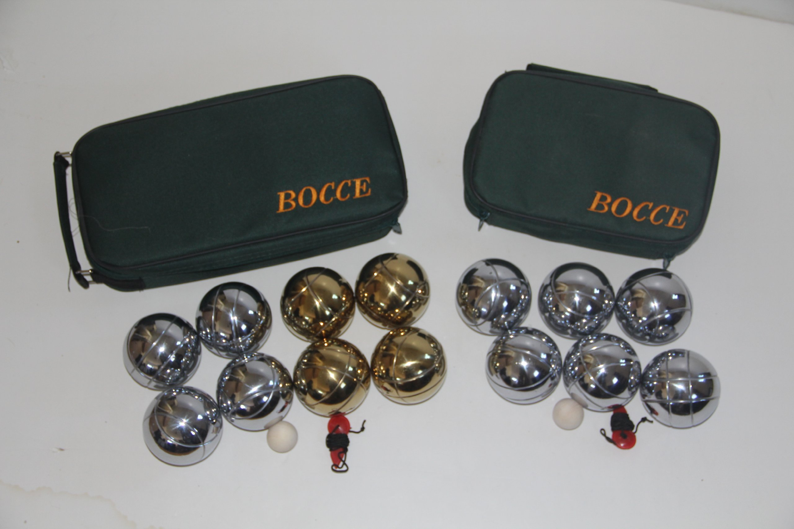 Combo 73mm Metal Bocce and Petanque 2 pack with green bags by BuyBocceBalls