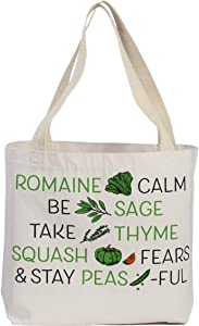 Reusable Grocery Bag Shopping Tote Extra Large Heavy Duty 12 oz Cotton Canvas Multi Purpose Durable & Machine Washable Proudly Made in the USA (Veggie Wisdom)