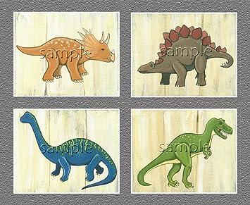 Dinosaur Kids/boys Nursery Wall Art Prints (8x10, ...