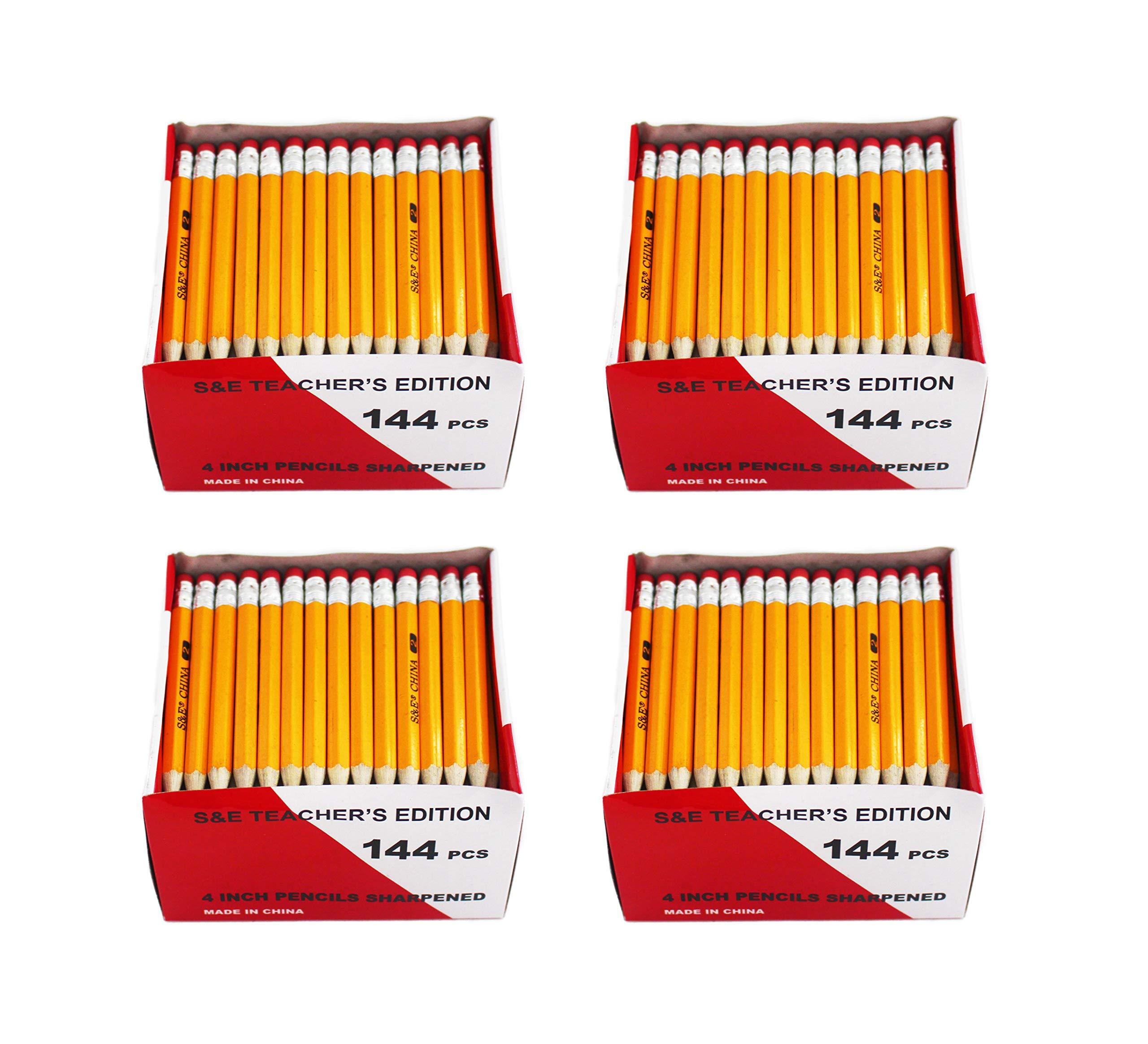 S & E TEACHER'S EDITION Half Pencils with Eraser Tops 576Pcs, Golf, Classroom, Pew - #2 HB, Hexagon, 144/Box.(pack of 4) by S & E TEACHER'S EDITION