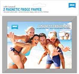 "Shot2go magnetic photo fridge frame pockets silver border 5x7"" 2 pack"