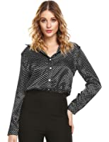 OD'lover Women Long Sleeve Fashion Polka Dot Shirt Wear to Work Office Ladies Blouse