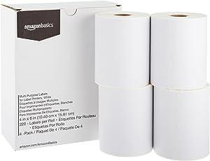 Etiquetas multiusos AmazonBasics para impresoras de etiquetas, blanco, 4 '' x 6 '', 220 etiquetas por rollo, 4 rollos