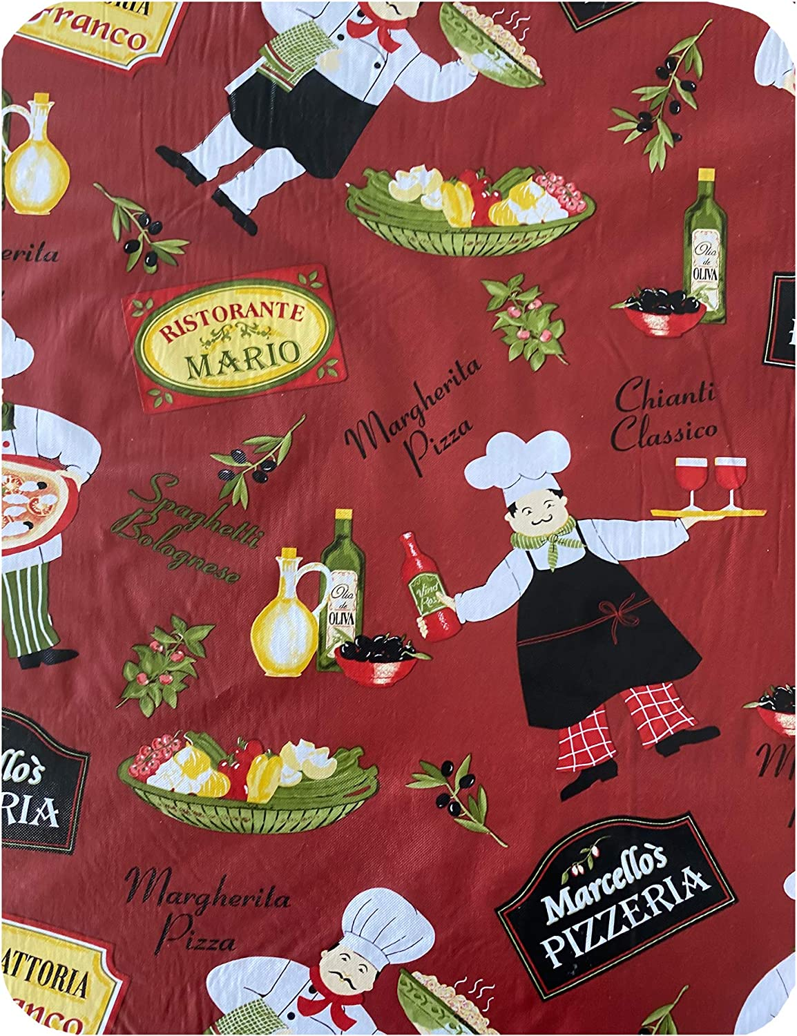 Patio and Kitchen Dining,52 Inch x 52 Inch Square Novelty Chef Indoor//Outdoor Waterproof Tablecloth Newbridge Italian Red Bistro Chef Vinyl Flannel Backed Tablecloth Picnic Barbeque