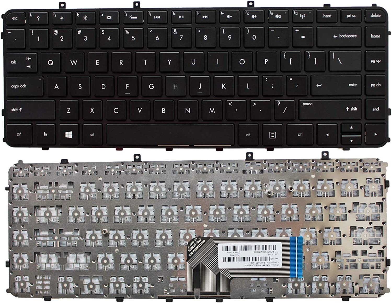 Zahara Laptop US Keyboard Black Without Backlit Replacement for HP Envy 4-1195ca 4-1130us 4-1215dx 4-1115dx 4-1102xx CTO 4t-1100 4-1038nr 4-1043cl 4-1050ca 4-1110us 4-1117nr 4-1105dx 4-1019wm