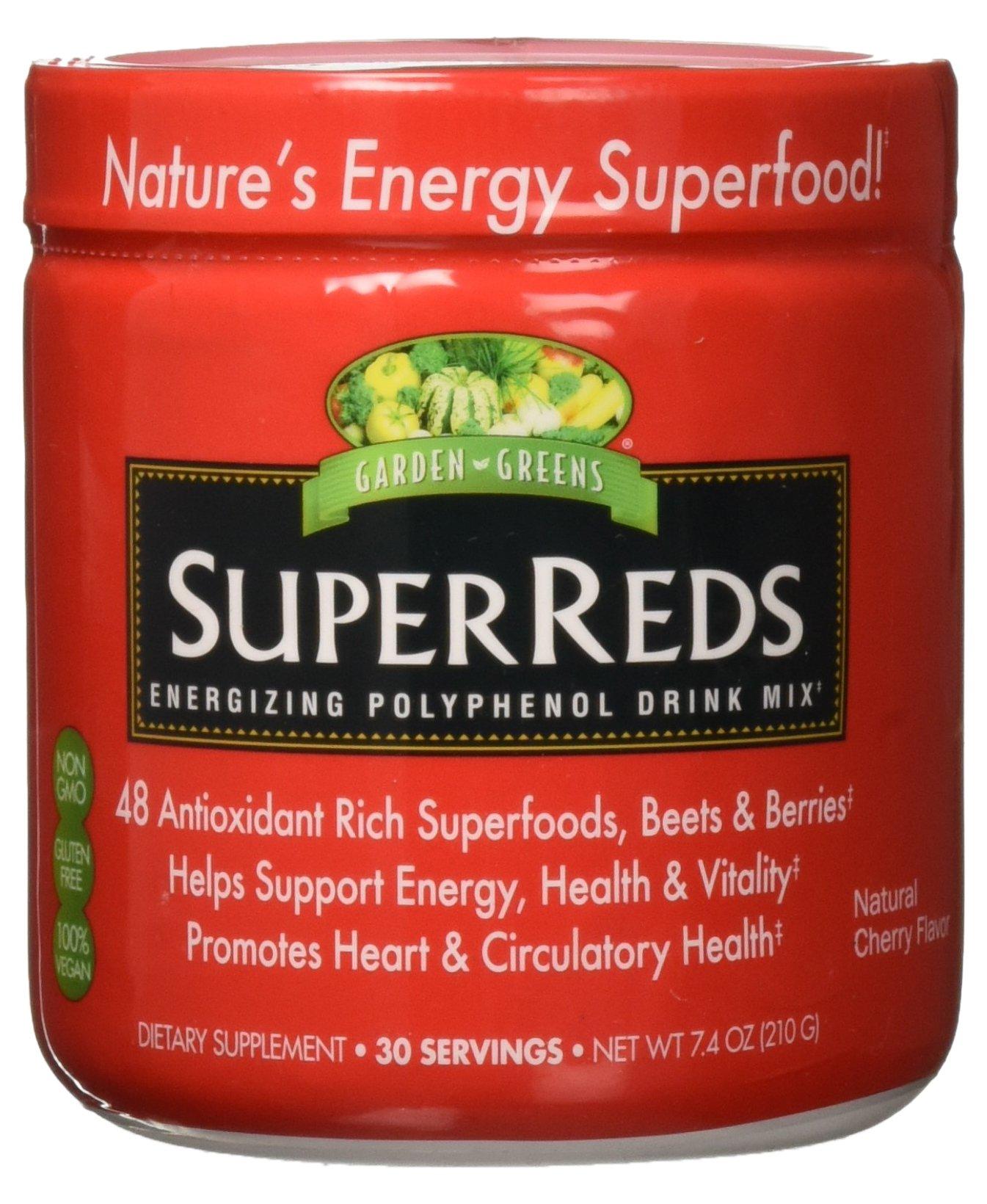 Garden Greens Super Reds Energizing Polyphenol Superfoods, Antioxidants, Powder Drink Mix, 30servings by Garden Greens