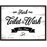 Fresh Toilet & Wash Vintage Sign White Canvas Print with Picture Frame Home Decor Wall Art Collection Gift Ideas