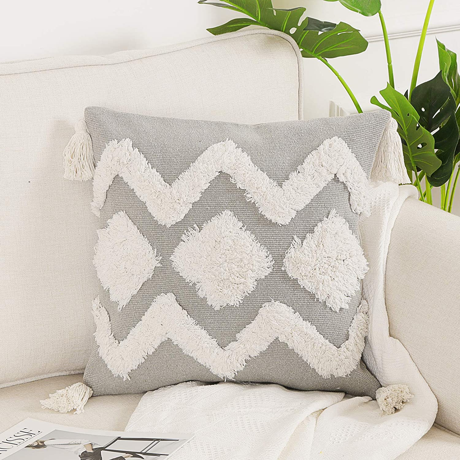 Ojia Geometric Decorative Throw Pillow Cover Farmhouse Boho Pillow Case Tufted With Tassels Square Accent Cushion Cover Neutral Pillow Sham For Couch Sofa Living Room Square 18 Inches Grey Home