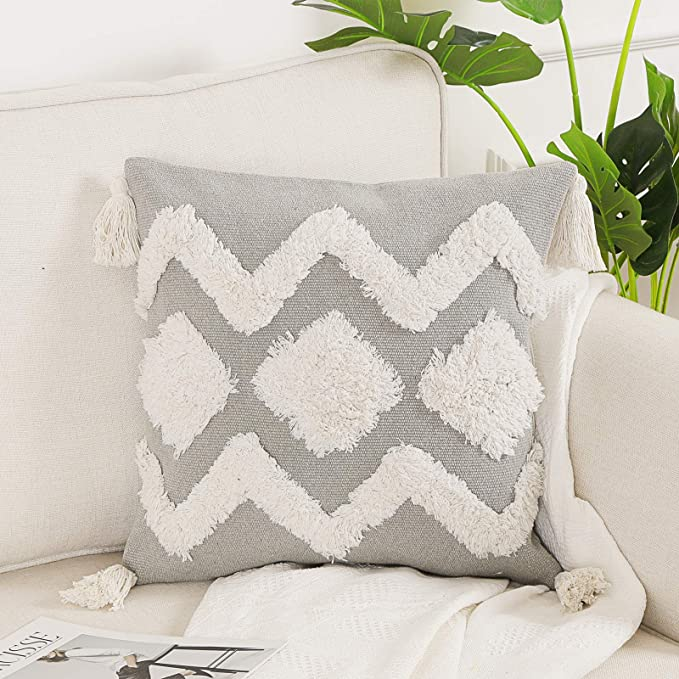 Ojia Geometric Decorative Throw Pillow Cover 18x18 Farmhouse Boho Pillow Case Tufted With Tassels Square Accent Cushion Cover Neutral Pillow Sham For Couch Sofa Living Room 18x18 Inch Gray White Home Kitchen Amazon Com