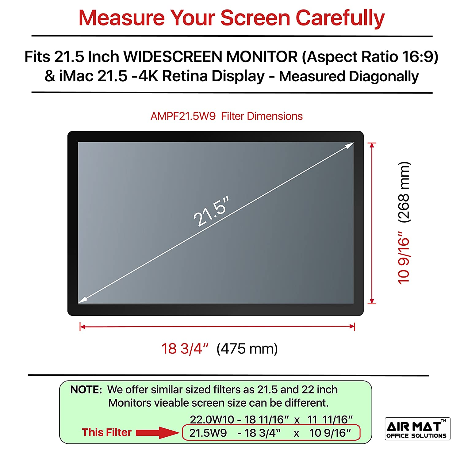 Amazon.com: 21.5 Inch Privacy Screen Filter for Widescreen Computer ...