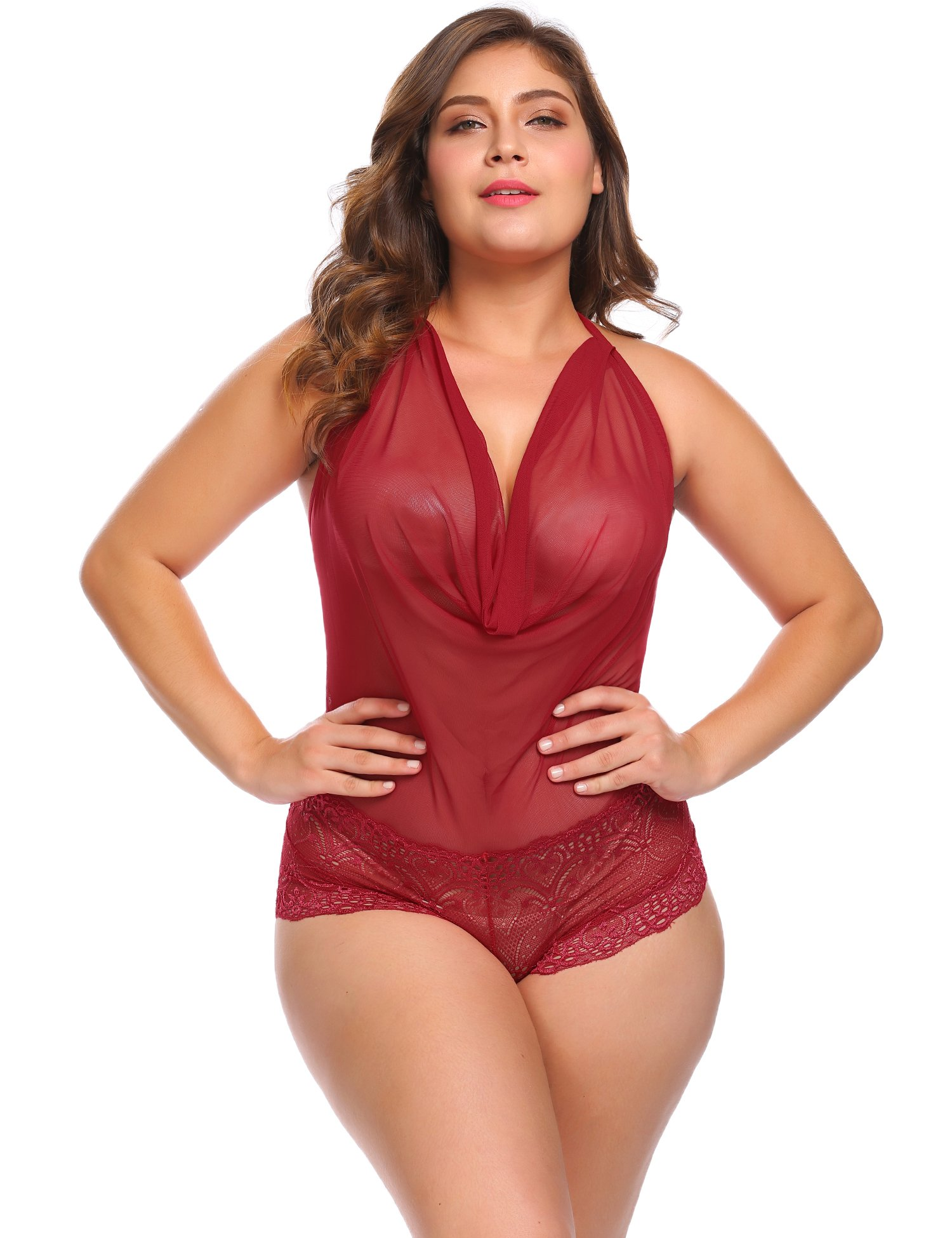 Vpicuo Plus Size Women Sexy Lingerie Teddy One Piece Lace Halter Babydoll Bodysuit Sleepwear,Wine Red,20W