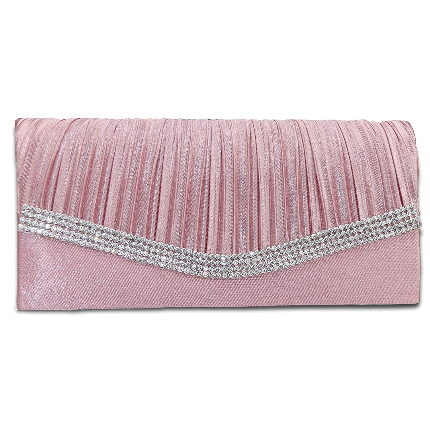 Free Shipping Etial Womens Elegant Crystals Satin Pleated Evening Fashion Clutch Brown Handbags