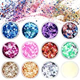 Lictin Purpurina para Cara Cuerpo Pelo Rostro Uñas Mejilla Paillette Maquillaje Brillantes Corazones Estrellas 11…