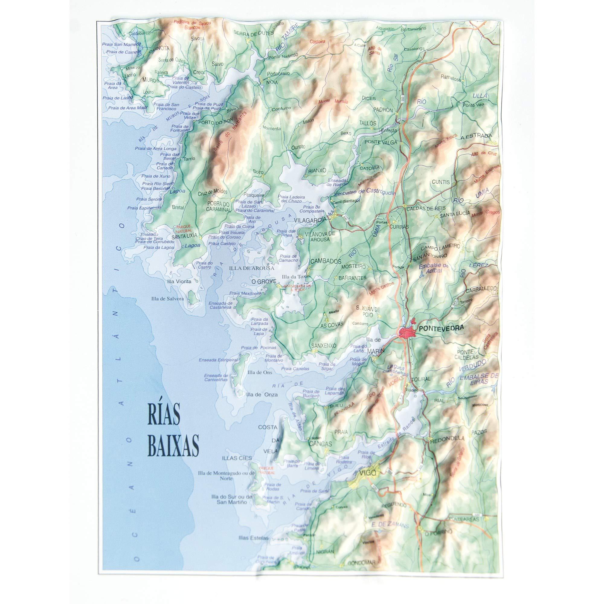 Mapa en relieve de Rias Baixas: Escala gráfica: Amazon.es: All 3D ...