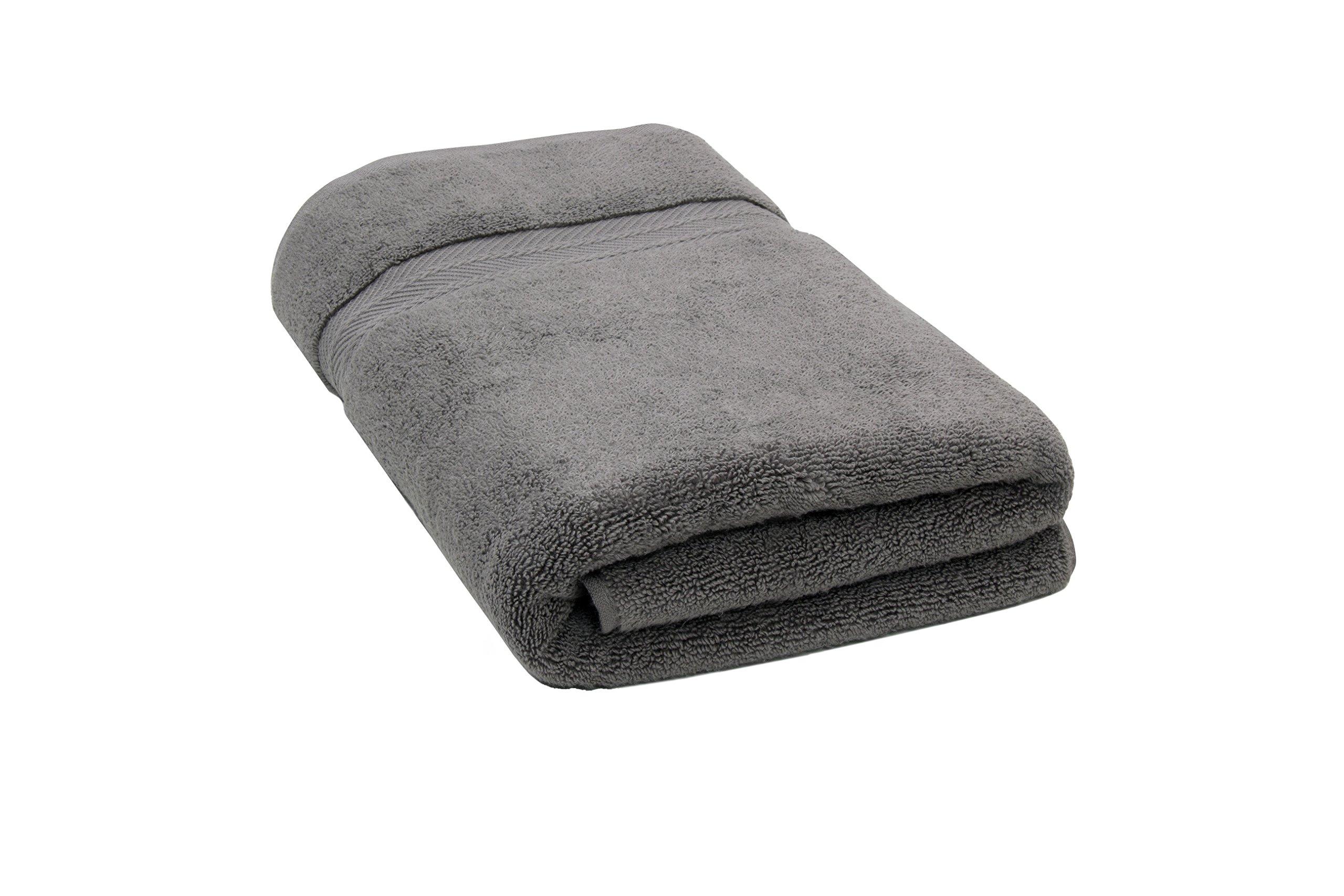 "Bloom Pima Zero Twist Bath Towel - 27"" x 54"" - Premium Ultra Soft, High Absorbency Pima Cotton - Quick Drying Luxury Spa Bath Towels - 600 GSM - Grey"
