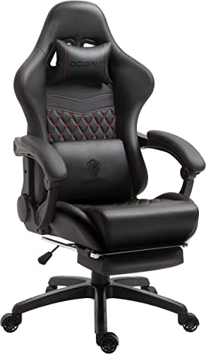 Dowinx Gaming Chair Office Chair PC Chair with Massage Lumbar Support, Racing Style PU Leather High Back Adjustable Swivel Task Chair with Footrest Black Red