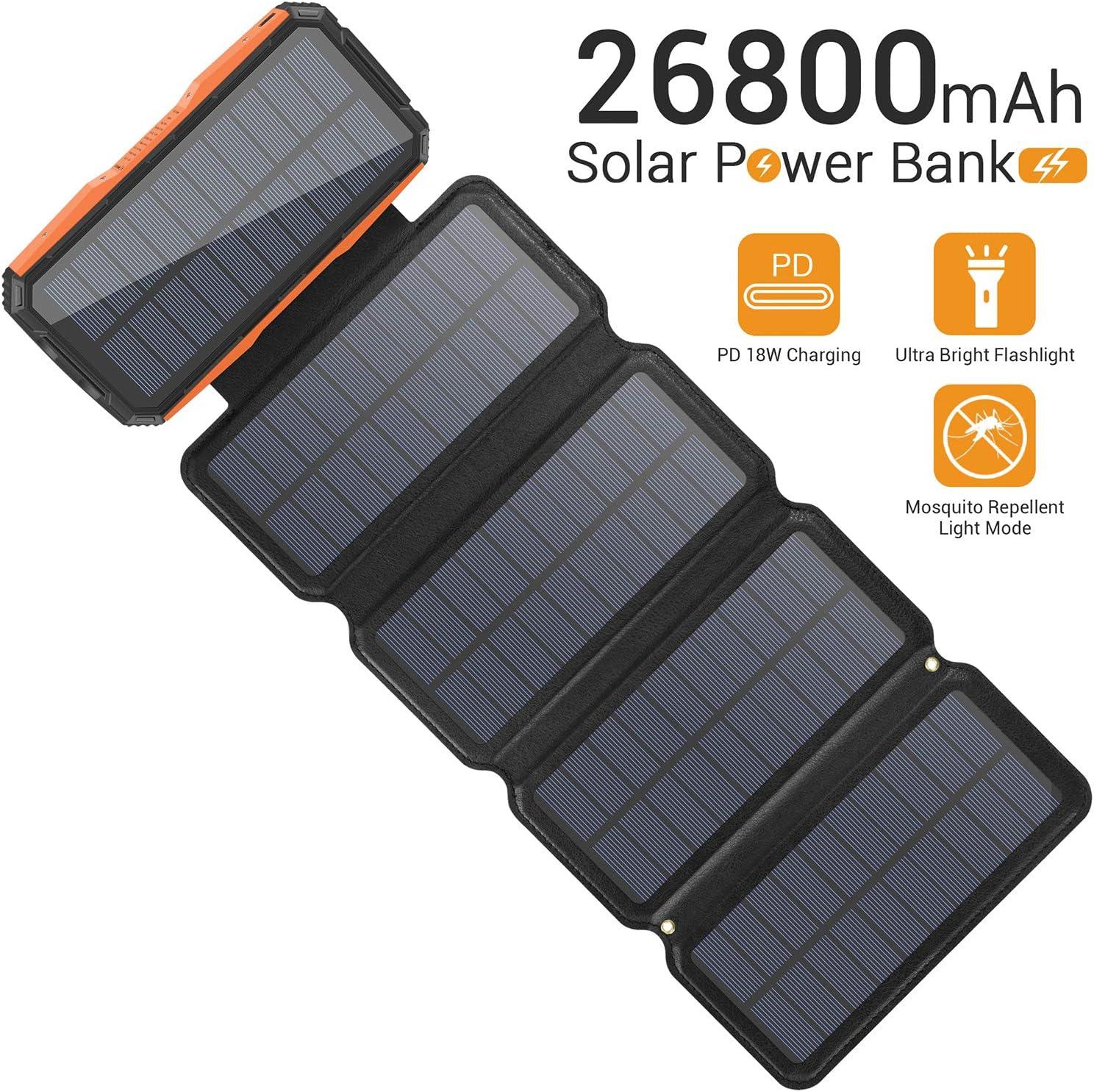 Bateria 26800mah con carga solar rapida de 5 paneles 1.5A