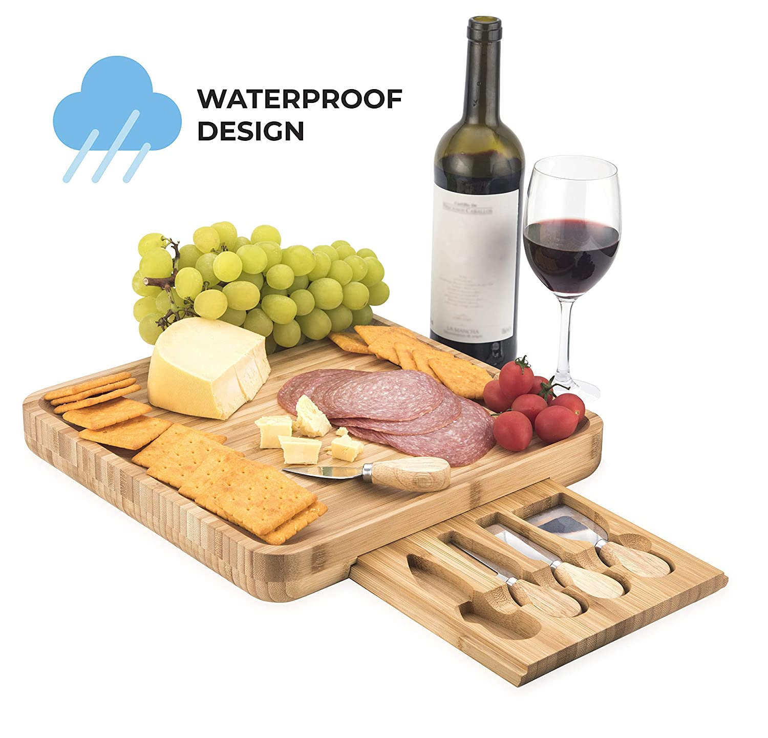 Bamboo Cheese Board with Cutlery Set I WATERPROOF DESIGN I Charcuterie Board | Cheese Platter | Cheese Plate | Cheese Tray | 4 Stainless Steel Knifes and Serving Sets Ningbo Bright Commodity Co. Ltd.
