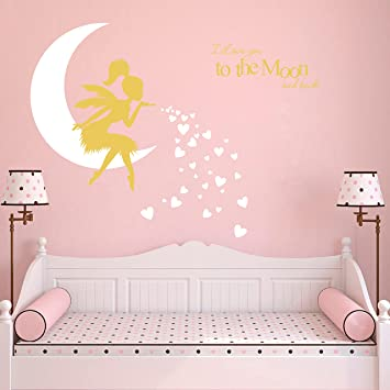 Afro Fairy Wall Art I Love You to the Moon Nursery Wall Art Fairy Afro Girl wall decal nursery decor fairies African Fairy wall decal